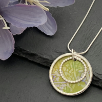 Sterling Silver and Printed Aluminium Mini Halo Pendant - Green leaf print