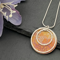Sterling Silver and Printed Aluminium Mini Halo Pendant -Orange sunflower print