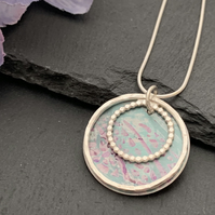 Sterling Silver and Printed Aluminium Halo Pendant - Turquoise and lilac leaf