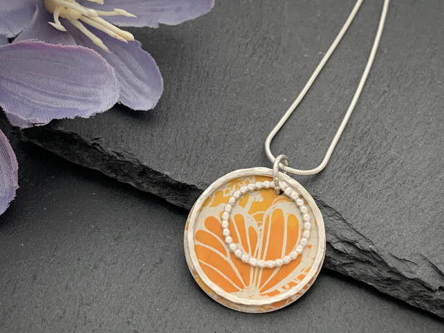Sterling Silver and Printed Aluminium Halo Pendant - Orange Butterfly