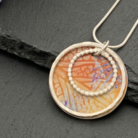 Sterling Silver and Printed Aluminium Halo Pendant - Orange Leaf print