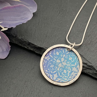 Sterling Silver and Printed Aluminium Halo Pendant - Aqua Mandala (reversible)