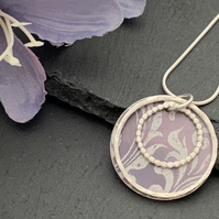 Sterling Silver and Printed Aluminium Halo Pendant - soft Heather