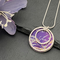 Sterling Silver and Printed Aluminium Halo Pendant - Purple script and butterfly