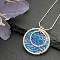 Sterling Silver and Printed Aluminium Halo Pendant - Turquoise leaf print