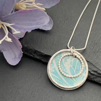 Sterling Silver and Printed Aluminium Halo Pendant - Soft Teal Butterfly