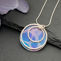 Sterling Silver and Printed Aluminium Halo Pendant - Blue and purple lace print