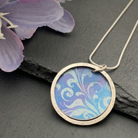 Sterling Silver and Printed Aluminium Halo Pendant - lilac and blue