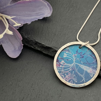 Sterling Silver and Printed Aluminium Halo Pendant - Turquoise cow parsley
