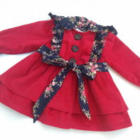 Girls Dark Pink Hooded Coat, 18-24 months