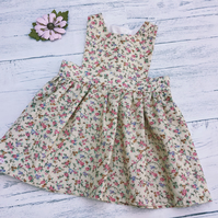 Classic Floral Pinafore Dress, age 3-6 months