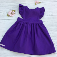 Classic style purple pinafore dress, made to order