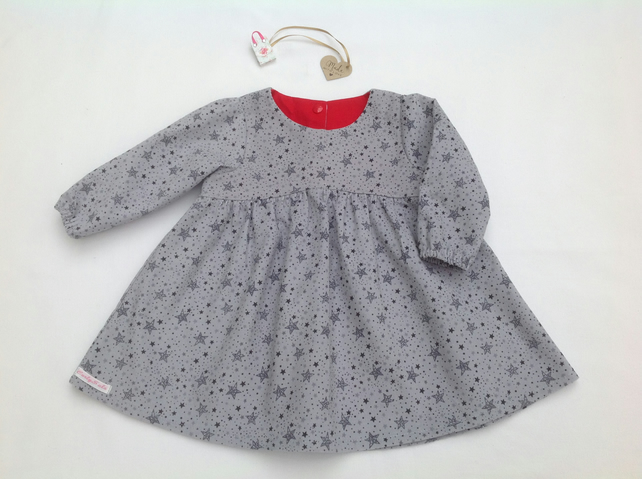 Grey Star Print dress with long sleeves in soft babycord, made to order,