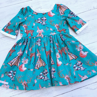 Teal blue Girls Dress with three quarter length sleeves