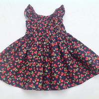 Navy Strawberry Print Peasant Dress