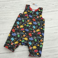 Super hero pow print harem style dungarees