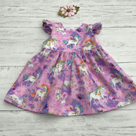 Girls Unicorn Dress with flutter sleeves