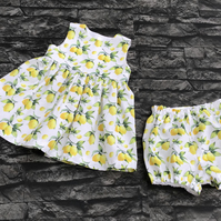 Lemon Print Dress  0-3 months to 9-10 years, matching pants available