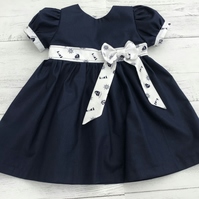 Baby girl navy and nautical print dress with optional matching nappy pants