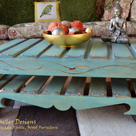 FREE UK SHIPPING RUSTIC RECLAIMED WOOD DUCK EGG BLUE COFFEE TABLE MADE TO ORDER
