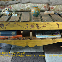 RUSTIC RECLAIMED WOOD COFFEE TABLE UNDERSHELF STORAGE  HANDCRAFTED TO ORDER