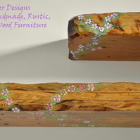 RUSTIC SHELVES HANDCRAFTED FROM RECLAIMED WOOD HANDPAINTED FLOWER DESIGN