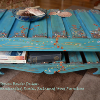 RUSTIC COFFEE TABLE HANDCRAFTED TO ORDER RECLAIMED WOOD TURQUOISE WITH FLOWERS