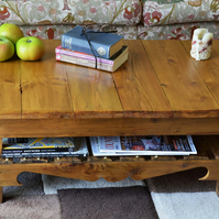 FREE UK SHIPPING LT OAK STAIN RECLAIMED WOOD COFFEE TABLE HANDCRAFTED TO ORDER