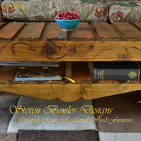 RUSTIC RECLAIMED WOOD BURNT ORANGE AND MEDIUM OAK COFFEE TABLE MADE TO ORDER