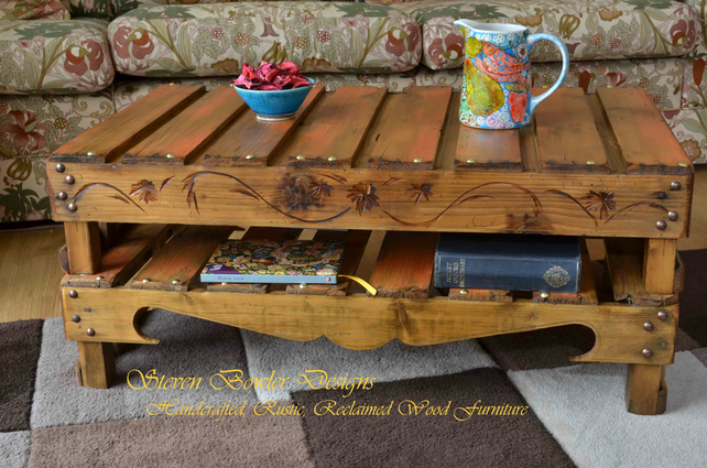 COUNTRY COTTAGE RUSTIC RECLAIMED WOOD COFFEE TABLE HANDMADE TO ORDER