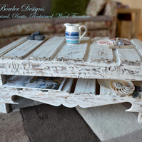 RUSTIC RECLAIMED WOOD NAUTICAL STYLE COFFEE TABLE HANDCRAFTED TO ORDER