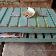 RUSTIC DUCK EGG BLUE & COPPER COFFEE TABLE HANDCRAFTED TO ORDER