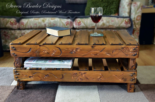 FREE UK SHIPPING RUSTIC RECLAIMED WOOD COFFEE TABLE WITH UNDERSHELF STORAGE