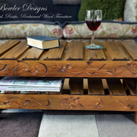 RUSTIC RECLAIMED WOOD COFFEE TABLE UNDER SHELF STORAGE HANDCRAFTED TO ORDER