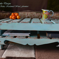 COUNTRY COTTAGE STYLE DUCK EGG BLUE RUSTIC COFFEE TABLE HANDCRAFTED TO ORDER