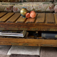 CELTIC STYLE RECLAIMED WOOD COFFEE TABLE HANDCRAFTED TO ORDER