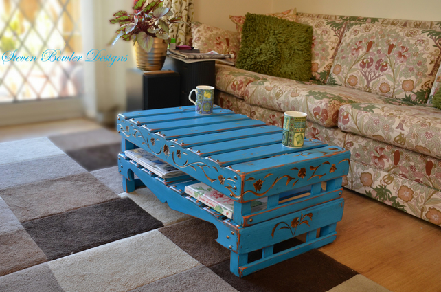 Turquoise Blue Mediterrean Rustic Coffee Table with Carving Handcrafted to Order