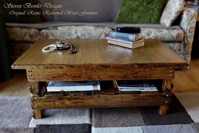 FREE UK SHIPPING BESPOKE COUNTRY COTTAGE RUSTIC WOOD COFFEE TABLE MADE TO ORDER