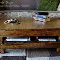 FREE UK SHIPPING RUSTIC MEDIUM OAK STAINED WOOD COFFEE TABLE MADE TO ORDER