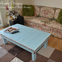 FREE UK SHIPPING HAND PAINTED DUCK EGG BLUE COFFEE TABLE  HANDCRAFTED TO ORDER