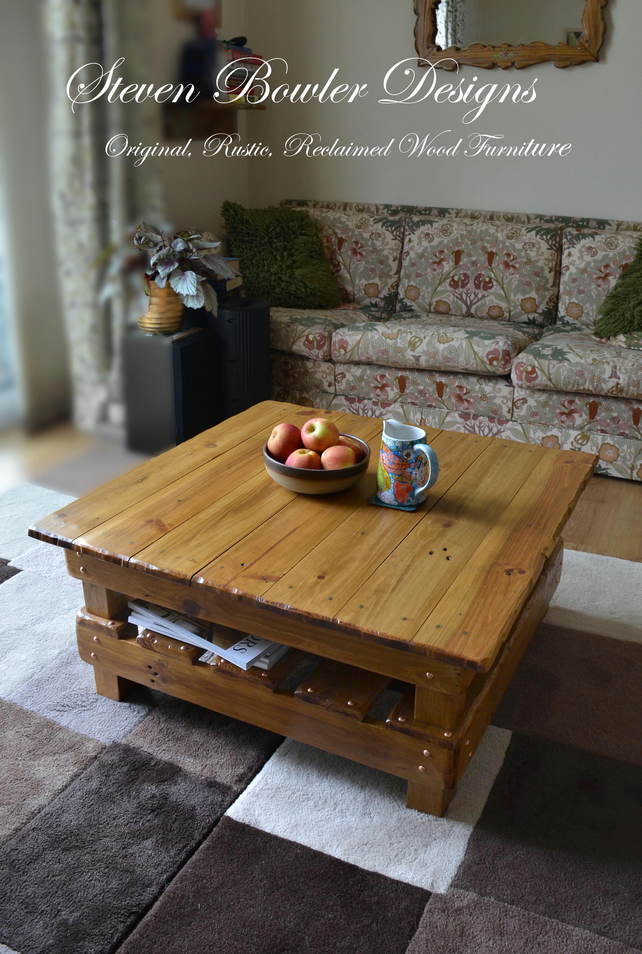 RUSTIC RECLAIMED WOOD 80 CM X 80 CM SQUARE COFFEE TABLE HANDCRAFTED TO ORDER