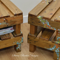 RUSTIC END TABLES WITH COUNTRY COTTAGE FLOWER DESIGN HANDCRAFTED TO ORDER