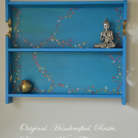 RUSTIC RECLAIMED WOOD SHELVING UNIT WITH COTTAGE FLOWERS HANDCRAFTED TO ORDER