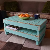 RUSTIC RECLAIMED WOOD COFFEE TABLE IN AQUAMARINE HANDCRAFTED TO ORDER
