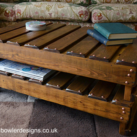 Bespoke Country Cottage Rustic Reclaimed Wood Coffee Table Handcrafted to Order