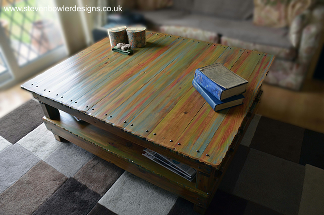 Bespoke Rustic Reclaimed Wood Coffee Table Handpainted in Boatwood Style Finish