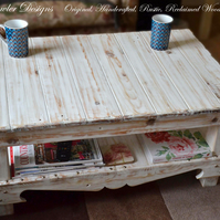 Handcrafted to Order Rustic Reclaimed Wood White Nautical Style Coffee Table