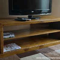 Bespoke Rustic Reclaimed Wood Country Cottage Style TV Unit Medium Oak Stain