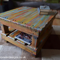 FREE UK SHIPPING Rustic Reclaimed Wood Coffee Table in a  Boatwood Style Finish