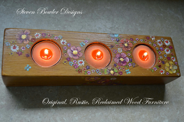 Rustic Reclaimed Wood Country Cottage Tealight Holder